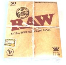 1 Box (50x) - RAW KS King Size Slim Papers Blättchen unbleached Booklets papes
