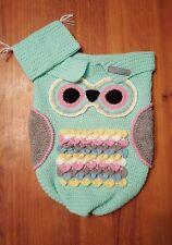 Handmade Crochet Baby Owl Cocoon blanket - Mint