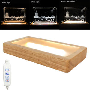 5.9 inch LED Crystal Light Display Stand Base for Art Glass with White Warm Ligh