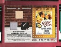 LUCILLE BALL Katharine Hepburn GINGER ROGERS WORN SWATCH MATERIALS RELIC CARD #d