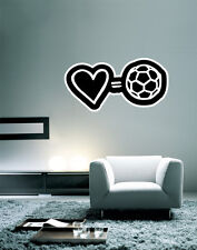 "Love Soccer Football Wall Decal Large Vinyl Sticker 30"" x 16"""