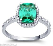 Emerald Green Cubic Zirconia Cushion Shaped Solitaire Ring Pave Setting Size 5