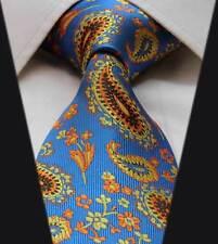 Hommes Cravate en satin Cachemire bleu orange jaune & marron mariage soie