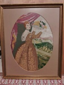Large Vintage Needlepoint/Embroidery Woman with Harvest Basket 22x18