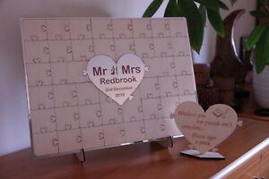 Personalised wooden wedding guest book jigsaw puzzle keepsake gift