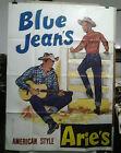 AFFICHE ORIGINALE ANCIENNE BLUE JEAN'S AMERICAN STYLE ARIE'S COW BOYS