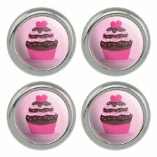 Strawberry Chocolate Cupcake Love Heart Metal Craft Sewing Buttons - Set of 4