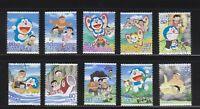 JAPAN 2013 ANIMATION HERO 20TH ISSUE DORAEMON COMP. SET 10 STAMPS IN FINE USED