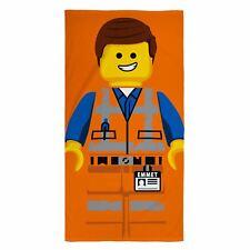 LEGO MOVIE 2 EMMET BEACH TOWEL 100% COTTON ORANGE KIDS 140cm x 70cm