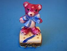 Teddy Bear with Ribbon authentic French Limoges Box ( New )