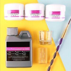 Nail Art Kits Set Acrylic Liquid Powder + Manicure Brush & Glass Dappen   HOT