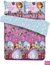 Sofia the First Princess Fitted Sheet Pillow Case Quilt Cover Bedding Violet
