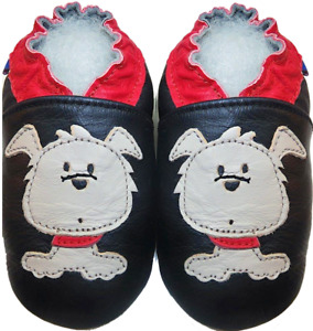 Minishoezoo leather shoes toddler slippers dog black 24-36m US 9-10