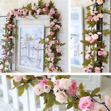 Artificial Rose 7ft Garland Floral Leaf Fake Flowers Home Garden Wedding Decor