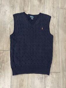 Polo Ralph Lauren Boys Navy Blue Cotton Cable Vest Size Large L