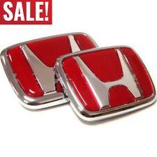 Red Honda Emblem JDM Style Type R Acura Civic Integra Accord RSX Badge Logo Set