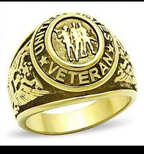 Men US Military Stainless Steel Gold Veteran Ring Size 9 US SELLER