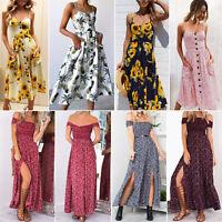 Womens Boho Holiday Floral Long Maxi Dress Off Shoulder Party Beach Sundress 2XL