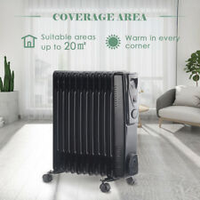 11 Fin 2.5KW Portable Electric Oil Filled Radiator Heater Adjustable Thermostat