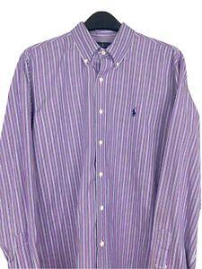 Ralph Lauren Men's XL 120's Poplin Button Down L/S Striped Shirt Purple EUC