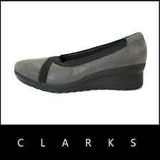 Clarks Cloudsteppers Caddell Dash Grey Synthetic Wedge Slip On Shoes US 6 Nwt