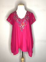 JOHNNY WAS Womens Embroidered Hinga Tunic Red Blouse Floral Retail $260 Sz XS
