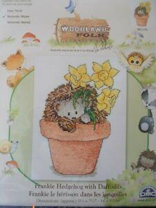 """Cross stitch Kit Woodland Folk """" Frankie Hedgehog with Daffodils  """" New DMC"""