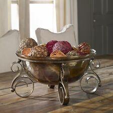 Tuscan Decor Scrolled Iron & Glass Fruit Bowl Centerpiece Decorative Old World