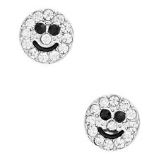 Smiley Face Fashionable Earrings - Stud - Sparkling Crystal