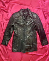 Womens ADLER Collection Genuine Lamb Skin Leather Jacket Black Size Small *flaw*