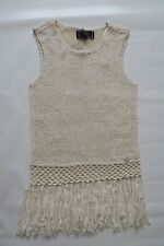 Lipsy Knit Vest Cream Fringe Top Size Small
