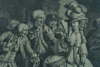 Gravure ancienne  le cabaret 18ème Petit Wax-Hall 1780 Mode  Paris Danse Wille