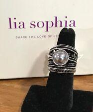 "New Lia Sophia ""Madison"" Antique Silver Ring w/Glass Grey Pearl Stone Size 9"