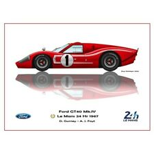 Print on paper Ford GT40 MKlV #1 Gurney / Foyt Winners 24h LM 1967