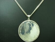 925 Sterling Silver Chain & 900 Silver Maria Theresien Thaler Pendant Coin 85cm