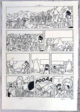 Hergé Tintin au Tibet Copie de Bleu d'imprimerie Planche 62 Format A3 Superbe !