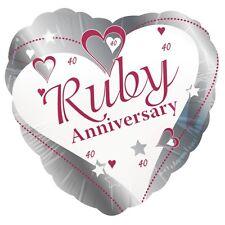40th Ruby Wedding Anniversary Heart Shaped 18 Inch Foil Balloon