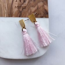 Tassels Earrings Silver Posts New! Madewell Style Pink