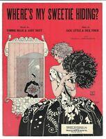 1924 Vintage Sheet Music WHERE'S MY SWEETIE HIDING? Art Deco