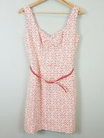REVIEW Womens Size 10 Floral embroidered Belted Dress