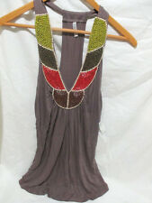 D'CLOSET+WOMEN'S+BEADED HALTER TOP+BROWN WITH MULTI-COLOR BEADS+SIZE M+