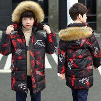 Big Boys Mid-Long Fur Hooded Parka Cotton Down Coat Winter Puffer Warm Jacket