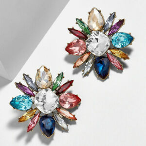 Rainbow Crystal Style Chunky Fashion Statement Plated Earrings. Zara Stud Style