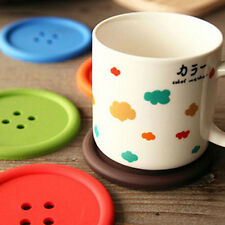 5PCS Button Drinks Coaster Giant Silicone Cup Tea Mat Holder Mug Glasses
