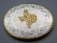 Crumrine Texas Cowboy Western Ornate Scroll Vintage Belt Buckle