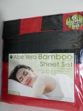 ALOE VERA BAMBOO ESSENCE 6 PIECE SHEET SET 1800 SERIES RED /BLACK, KING SIZE