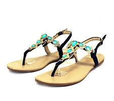 LMK397 T-Strap Thong Toe Gladiator Flats Sandals Women Shoes Black 7.5