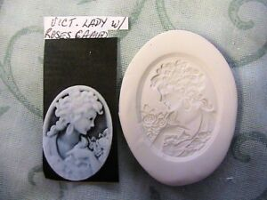 """*NEW* VICTORIAN LADY with ROSES CAMEO~Hard MOLD~1-1/2"""" rond *RARE~Fimo~Clay~soap"""
