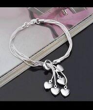 Women's 925 Silver Bijoux Multi Heart Snake Chain Bracelet Jewellery Gift UK