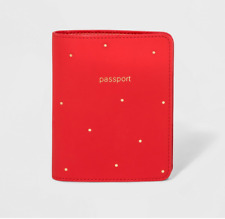 NEW A New Day Women's Passport And Visa Holder - Red W/ gold dots